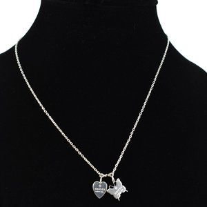 GUCCI Silver Heart Tag Butterfly Logo Necklace oo
